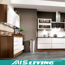 L Shaped Wood Grain Kitchen Cabinets Furniture (AIS-K298)